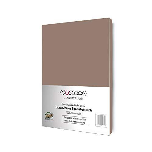 Müskaan Jersey Spannbettlaken | Spannbetttuch 140x200 cm - 160x200 cm | 100% Baumwolle | Bettlaken Qualität 135 g/m² | Oeko-TEX® Standard Zertifiziert | Taupe
