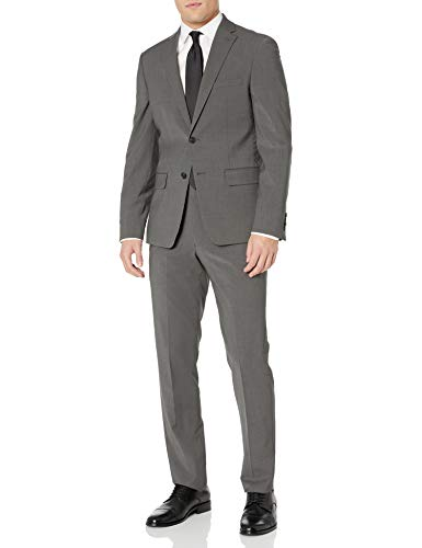 DKNY Men's Two Button Slim Fit Stretch Suit, Deep Gray, 42 Regular