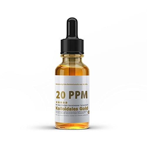 Kolloidales Gold 20PPM - Goldwasser hoch konzentriert (Reinheitsstufe 99,99%) Kolloidales Gold (50ml)