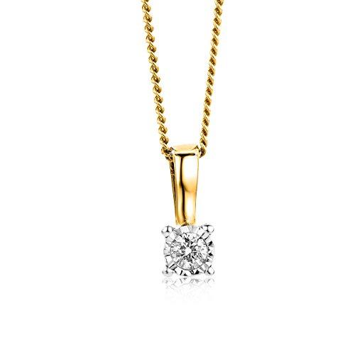 Orovi Bijoux Femme, Collier Solitaire Bicolor, Or Blanc et Or Jaune avec Diamant 0.04 Ct coupé Brillant 9 Kt / 375 Or Chaîne 45 Cm