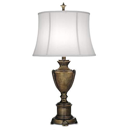 Lámpara de mesa Litina de color marrón y blanco envejecido, de lino y zinc, 81 cm, clásica y con estilo, iluminación ambiental