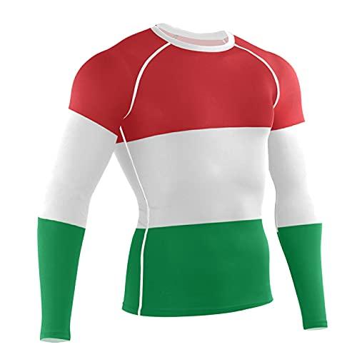 LORDWEY Bandera de Hungría para hombre de compresión de manga larga de entrenamiento, multicolor, L