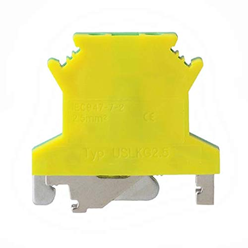 10 Pcs USLKG2.5N DIN Rail Mounted Ground Circuit Connection Terminal Block Screw Clamp 690V 34A