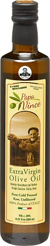 Papa Vince Olive Oil Extra Virgin - First Cold Pressed 2017/18, Sicily, Italy, Unblended, Unfiltered, Unrefined, Robust, Rich in Antioxidant   Single Estate from our family in Sicily - 16.9 fl oz