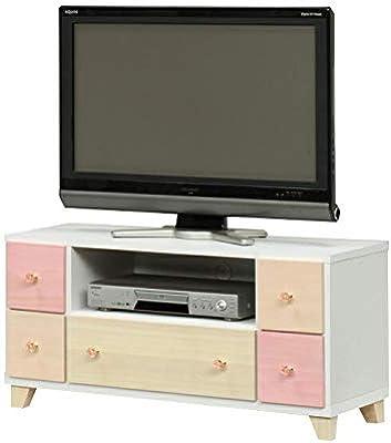 テレビ台 ローボード 完成品 幅95cm 木製 カントリー風 ホワイト 白 ピンク