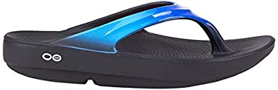OOFOS Women's Oolala Thong Flip-Flop, Black/Blue Jay, 11 M US