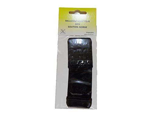 Prolunga elastica per reggiseno, con 3 ganci, larghezza 4 cm, colore: Nero