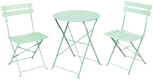 PATIO CHOICE Patio Bistro Set, Outdoor Patio Furniture Sets,3 Piece Patio Set of Foldable Bistro Chairs and Table,Mint Green