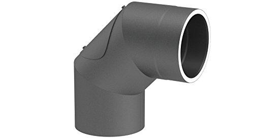 doppelwandiges Ofenrohr Winkelelement 90° mit Tür, Ø 150mm Durchmesser; mit Steckverbindungen; gussgrau lackiert