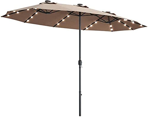 WGFGXQ Paraguas de Doble Cara con LED Solar para Patio de 15 pies, Paraguas Extra Grande con 36 Luces LED de energía Solar y Sistema de manivela, para Exterior, Doble, para terraza de jardín, Patio