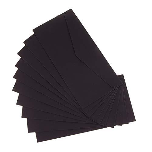 10 Stück Mini Grußkarte Einladung Einladungkarten mit Briefumschläge Set - Schwarz