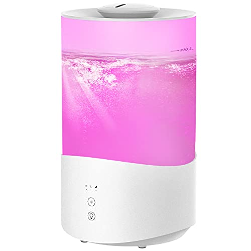 4L Humidifiers for Bedroom, 7-Color Night Light Cool Mist Humidifiers Diffuser, 50Hrs Top Fill Humidifier for Babies, 24dB Quiet Essential Oil Diffuser for Large Room, BPA-Free, Auto-Shut Off