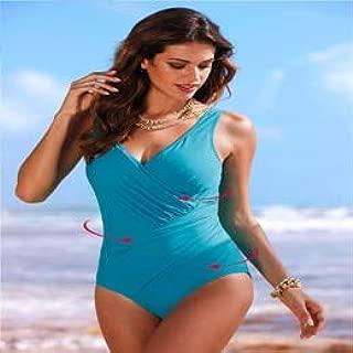 BEESCLOVER One Piece Swimsuit Women Plus Size Swimwear Print Solid Swimwear Vintage Retro Bathing Suits Monokini Swimsuit 5XL Blue XXL