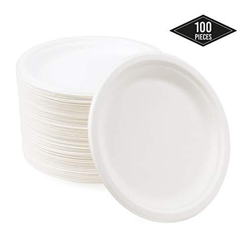 100 Piccoli Piatti di Carta Monouso di Canna Zucchero, Piatti da Dessert 18cm  Rigida & Robusti  Ecologico Compostabili Biodegradabile - Resistente ai Liquidi & Microonde Sicuro  Alternativa Plastica