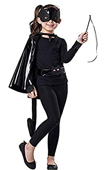 Dress-Up-America Black Cat Costume Set for Girls - Kids Cat Dress Up - Includes a Cape Mask Belt Tail Wristbands and a Wand  M/L