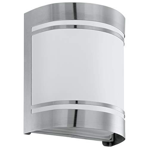 EGLO Außen-Wandlampe Cerno, 1 flammige Außenleuchte, Wandleuchte aus Edelstahl, Farbe: Silber, weiß, Glas: Weiß, satiniert, Fassung: E27, IP44