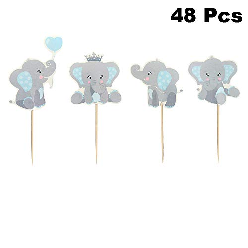 Finduat 48 Pieces Blue Elephant Cupcake Toppers for Boy Baby Shower...