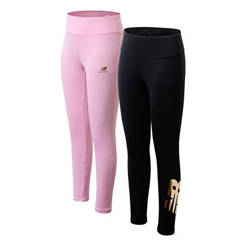New Balance Girls' Active Leggings - 2 Pack Full Length Performance Yoga Pants (Little Girl/Big Girl), Size 14/16, Black/Pink