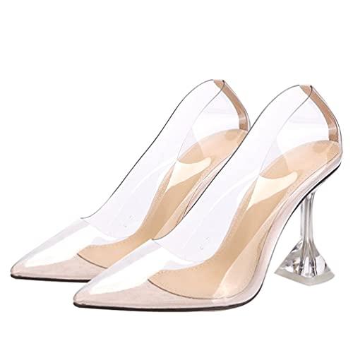 Happyyami 1 par de sapatos femininos de salto alto transparentes, Damasco, 7