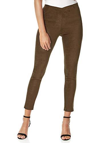 Roman Originals dames lange broek van imitatie velours met stretch - Dames elegante casual broek gemaakt van imitatieleer, party, avonds, lang