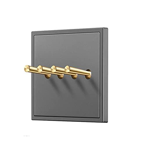 YUANJING-Interruptor de 1 banda, 2 pandillas, 3 pandillas, 4 luces y panel de plástico interruptor de pared de 2 vías y interruptor de cobre (color gris: 4 bandas 2 vías)