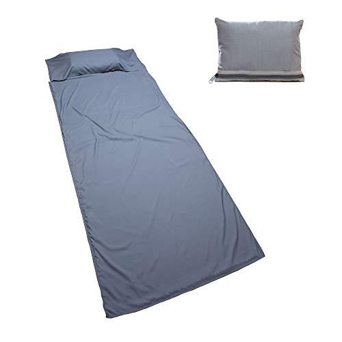 Nomalite Saco de Dormir (90 x 220cm) Suave Microfibra de algodón Transpirable. Saco de Dormir Ligero, Compacto y Gris para Adultos. Ideal para hoteles, acampadas o Senderismo.
