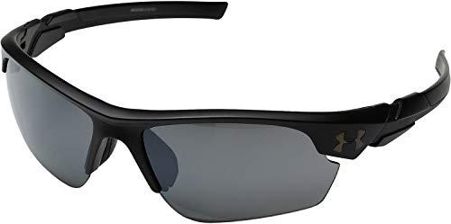 Under Armour Wrap Sunglasses, UA WINDUP Satin Black Frame/Gray MULTIFLECTION Lens, Youth