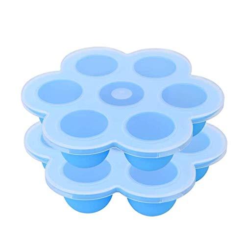 Zeattain Silikon Babynahrung Aufbewahrung Behälter Brei Einfrieren Behälter | 8.25'' Diamete mit Deckel Babykost und als Behälter für Babybrei| Gefrierschrank & Spülmaschinenfest(2PCS Blau)