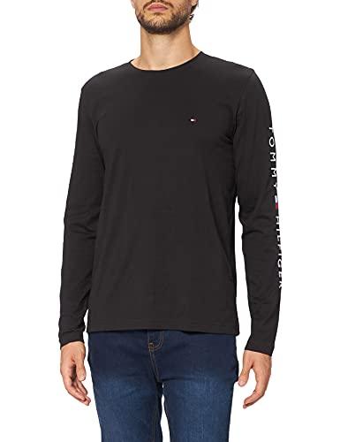 Tommy Hilfiger Logo Long Sleeve Tee M Maglietta a Maniche Lunghe, Black, M Uomo