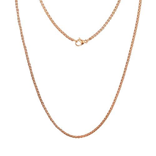 Meilanty - Collana da donna in acciaio inox, 80 cm, chiusura a chela di granchio e Acciaio inossidabile, colore: Catena in oro rosa., cod. GL-02