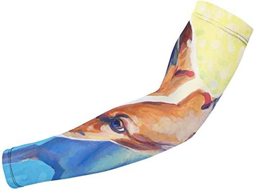 Blue Yellow Greyhound Art DogPrinted Theme 1 par de mangas de protección para el brazo para hombres, mujeres, niños, bloqueador solar, guantes protectores, correr, golf, ciclismo, conducción, deportes