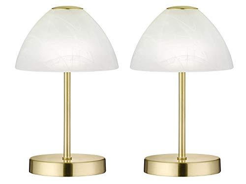 Dekorative LED Tischleuchten 2er SET - Metall 4-fach Touch Dimmer in Messing matt, 24cm hoch