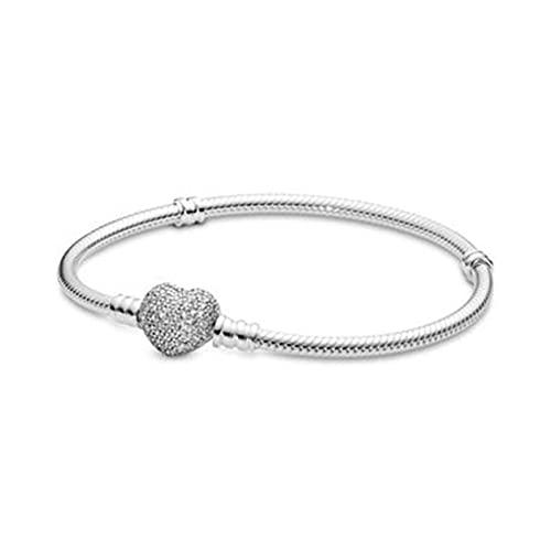 Pulsera Femenina de Plata de Ley 925, Pulsera de Cadena de Serpiente con corazón para Mujer, Compatible con Cuentas Originales, Regalo de joyería