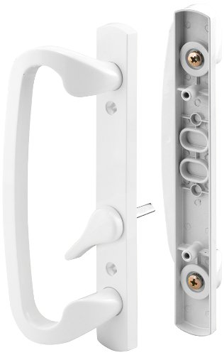 "Prime-Line C 1280 Mortise-Style Sliding Door Handle Set – Replace Old or Damaged Door Handles Quickly and Easily –For Right- or Left-Handed Doors - White Diecast, 3-15/16"" Mounting Holes"