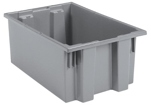 Akro-Mils 35200 Nest and Stack Plastic Storage Container and Distribution Tote 19-12-Inch L x 13-12-Inch W x 8-Inch H Gray 6-Pack