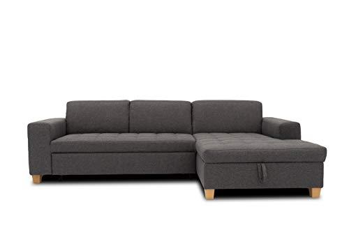 DOMO. collection Sugar Ecksofa   Sofa mit Schlaffunktion in L-Form, Eckcouch mit Bett, anthrazit, 266x162x80 cm
