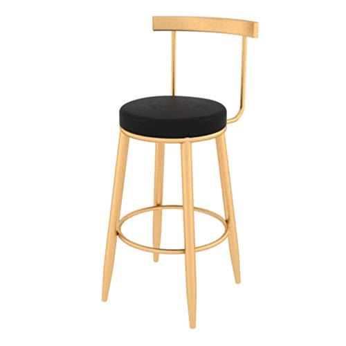 Sgabelli da bar in stile nordico, sgabello da bar in ferro battuto, sedia da bar moderna in metallo casual, sedile in ecopelle nera, gambe in metallo dorato, altezza seduta 65 cm