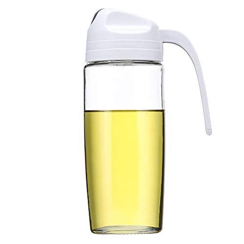Baomasir Ölspender, Auto Flip Olivenöl Glasflasche, auslaufsicherer Gewürzbehälter mit automatischem Deckel, Grau, 500 ml