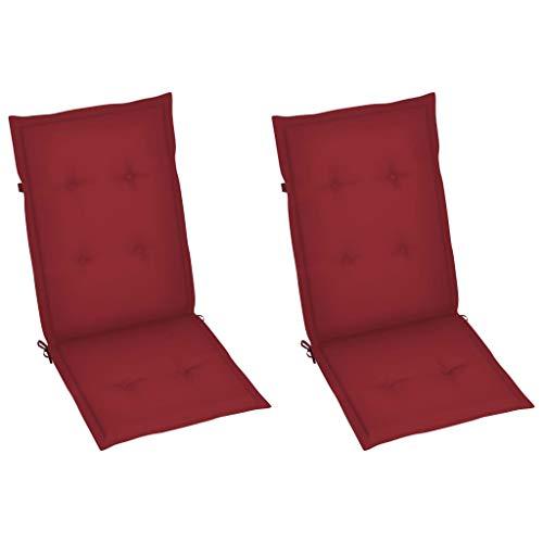 vidaXL 2X Cojines para Sillas de Jardín Asiento Tumbona Patio Terraza Balcón Exterior Acolchado con Respaldo Alto Decoración Rojo Tinto 120x50x4 cm