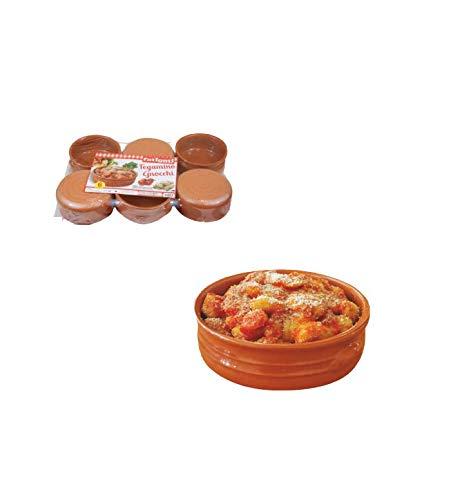 takestop TEGAMINO TEGAMINI Gnocchi Set 6 Pezzi TEGAME in Ceramica Terracotta Ciotole Cucina Mediterranea 13,5x6cm PENTOLAME TAVOLA per Forno MICROONDE per Alimenti Lavabile in LAVASTOVIGLIE