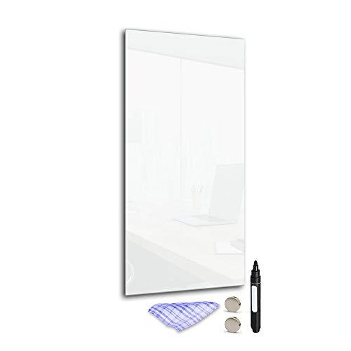 DekoGlas Magnettafel 'Weiß' aus Glas 60x30cm, Memoboard inkl. Stift, Tuch & Magnet, Metall-Pinnwand für Küche & Büro