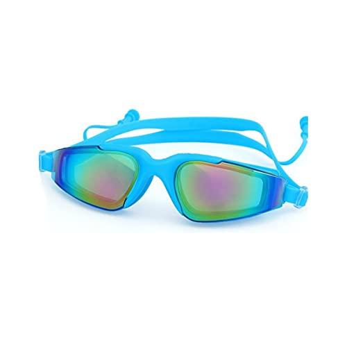 XUXUN Gafas de natación Hombres y Mujeres Enchufe Oído UV Proteger Impermeable Anti Niebla Adult Swim Pool Gafas Gafas Agua de natación Eyewear (Color : Sky Blue)