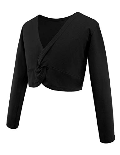 Daydance Black Girl's Dance Tops Cropped Ballet Sweater Warm Up for Leotards