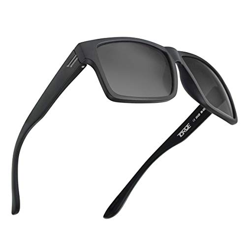 TOROE All Black Square TR90 Frame Polarized Sunglasses with Anti Reflective Water Repellent Polycarbonate Lenses (Matte Black Frame, Black (Category 3))
