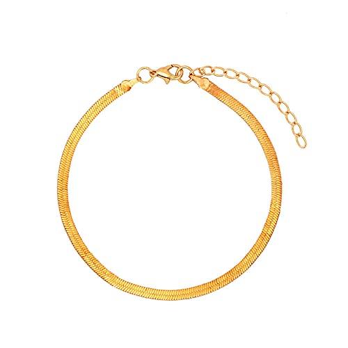 NIUBKLAS Tobillera Pulsera Tobillo de Metal con Cadena de Serpiente de Hoja Plana de 4 mm Adecuado para Tobilleras Mujeres, Pulsera Simple, joyería de Fiesta, regalo-005201GD