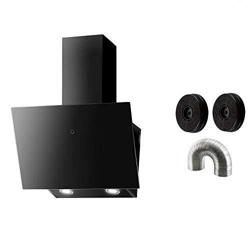 PROKIRA® DH60 GB-02 de Luxe 600m³/h LED Glas Touch Bedienung 60cm Wandhaube Kopffreihaube Haube Abluft Umluft Dunstabzugshaube Schwarz