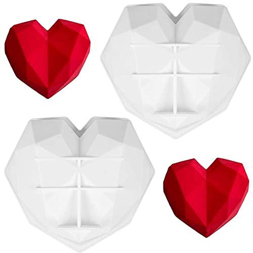Silikonform Diamant Herz Silikon Kuchen Form Herz Silikonform in Herzform Schokoladenform Herzchen Eiswürfelform Weiß für Handgemachtes Backwerkzeug Schokolade Süßigkeiten Gelee 2pcs(20*20*6cm)