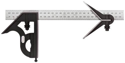 Calibre Starret de hierro forjado con cabezal cuadrado y central y hoja corriente, acabado negro rugoso, 300 mm
