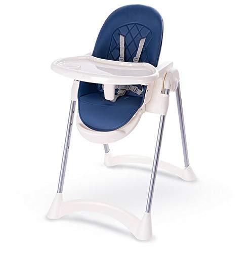 Kinderstoel Hoge kinderstoel Baby Kinderstoelen Stalen PP PU 1-3 Jaar Opvouwbare Verstelbare Stop 60 * 80 * 106cm Blauw