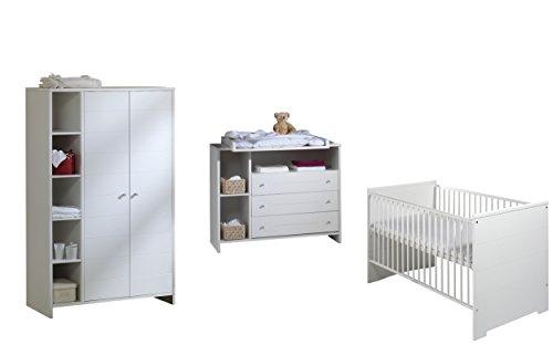 Schardt Eco stripe Chambre d'enfant avec lit d'enfant évolutif 70 x 140 cm incluant des panneaux latéraux amovibles, une commode avec table à langer et une armoire à 2 portes